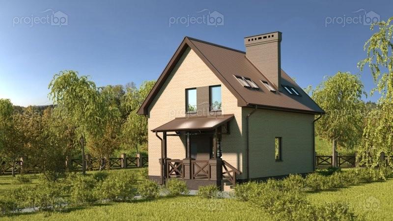 Проект компактного дома из блоков с мансардой 98-C